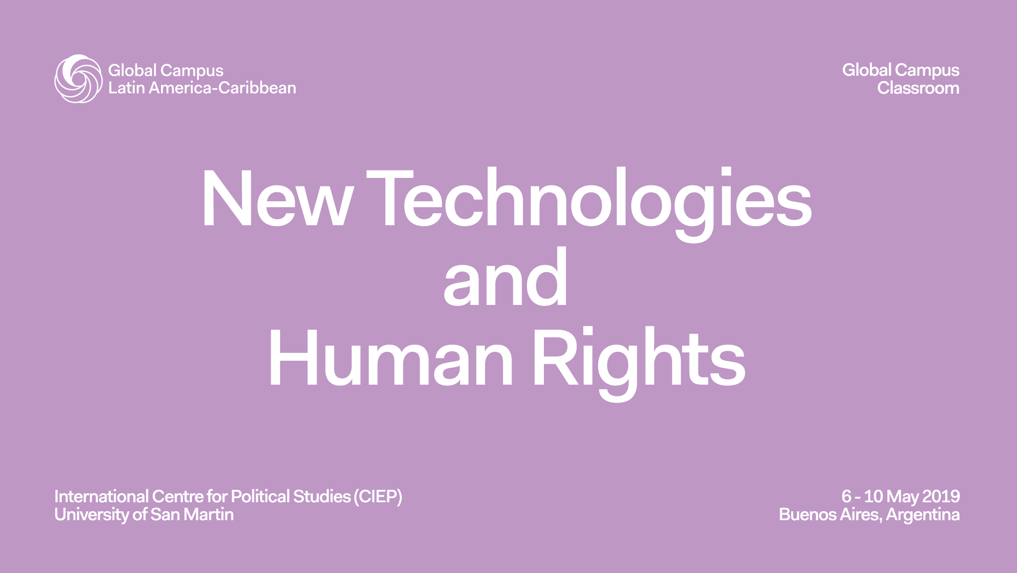 """Global Classroom 2019 on """"New Technologies and Human Rights"""""""