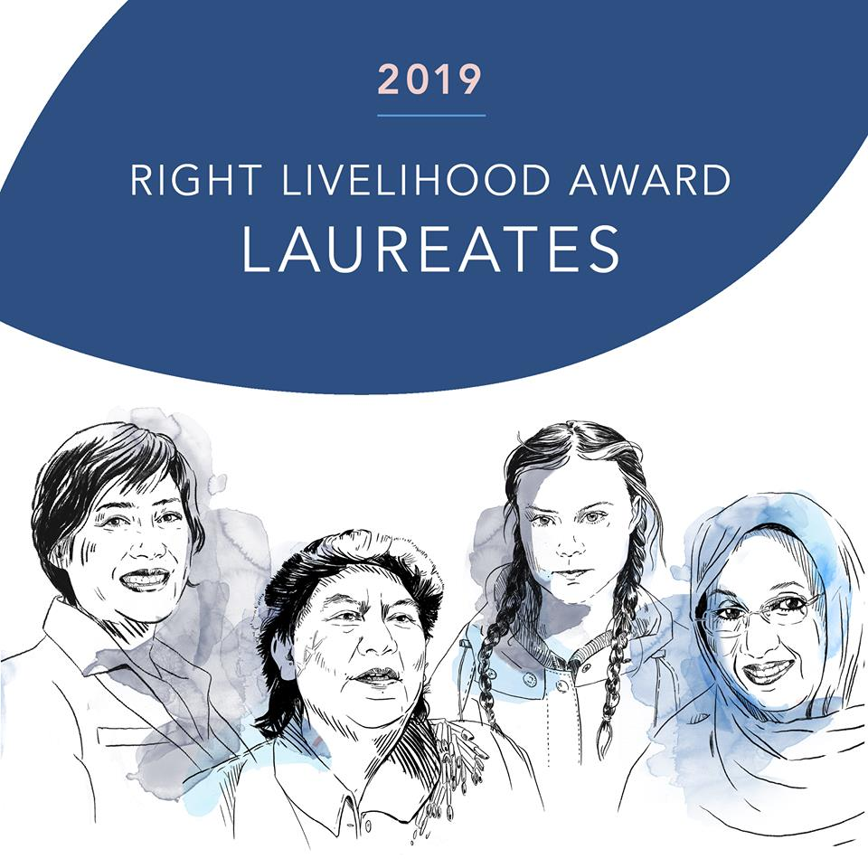 Our partner the Right Livelihood Foundation announced the 2019 Right Livelihood Award Laureates